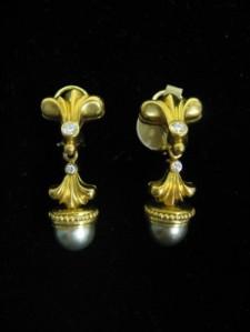 Black Pearl and Diamond Earrings