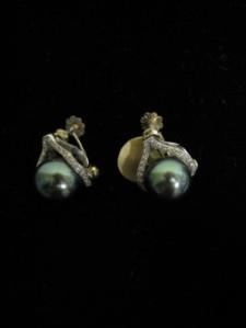 Diamond and Black Pearl Earrings