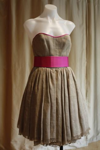 Isaac Mizrahi Burlap Strapless Dress